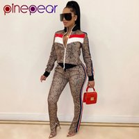 Pinepear Moda Donne Donne Tracksuit Two Piece Set Top e Pants Autunno Inverno Snake Stampa Pocket Zipper Sweatsuit Dropshipping 201119