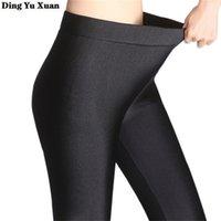 Sonbahar Kış Artı Kadife Tayt Kadınlar Yüksek Bel Rahat Siyah Legging Pantolon Bayan Sıcak Fleeece Parlak Tayt Sıkı 201204
