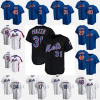 12 Francisco Lindor New 20 Pete Alonso 48 Jacob degent York Mike Piazza Mets Noah Syndergaard Darryl Strawberry maglie da baseball X1