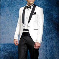 2020 White Jacket Black Pants tuxedo Summer Suit Beach Dress Tuxedos Men Suit Tuxedo Tailcoat Wedding mens suits costume homme