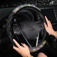Moda Elmas Kristal Araba Direksiyon Kapakları Evrensel Bling Rhinestone Direksiyon Kapak Kızlar Için Araba Aksesuarları1