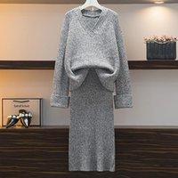 ZAWFL осень-зима Мода Толстые теплые свитера женщин Костюмы трикотажные свитера V-образным вырезом Top + Трикотажная юбка комплект костюмы Двухсекционный Set