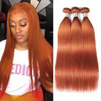 ishow hair wefts 스트레이트 오렌지 생강 350 ombre 색상 인간의 머리카락 다리 여성을위한 모든 연령대의 브라질 페루 Virgn 헤어 확장