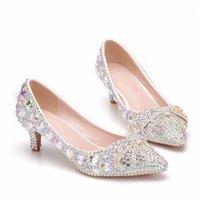 Donne 5cm appuntiti scarpe da sposa a punta AB cristalli colorati fiocco scarpe singole scarpe da donna sottili pompa con tacco con tacco sottile di grandi dimensioni 42 431