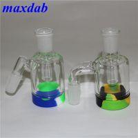 CENientes de ceniza de vidrio 14-14mm 18.8-18.8mm Ashcatcher con contenedores de silicona de 7 ml Colector de néctar de silicona para pipa de agua de vidrio Bong
