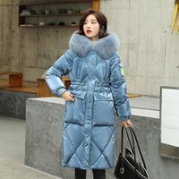 FNOCE 2020 Inverno New Women's Down Giacca in cotone Moda Casual Manica lunga Cappotto con cappuccio Pelliccia calda Cappotto imbottito in cotone-imbottito