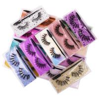 Eyelashes de falsos naturais grossos com pincel de cílios artesanais fake cílios olho maquiagem acessórios 15 modelos disponíveis com papelão colorido