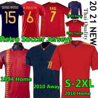 Spain Camisetas 1994 2002 10 Espanha Retro soccer Jerseys Vintage Classic A.iniesta Torres Raul Futebol Jerseys Xavi David Villa Camisa de Futebol Long Seelves