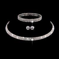 Jóias de casamento conjuntos de cristal de cristal bridal bracelete brincos e colar conjunto de joias para as mulheres moda meninas