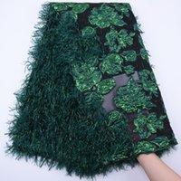 Pizzo verde piuma 2020 Tessuto nigeriano del nuovo merletto di disegno unico ricamo floreale francese di alta qualità di Tulle abito da sera africano