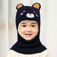 Party Hats Beanie Embroidery Bear Knitted Cycling Cap Hood C...