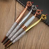 الماس تاج حبر جافت أقلام الكلاسيكية اللون rosegold الفضة الذهب القلم المعادن مع بلينغ ليتل كريستال طالب الكتابة هدية جاهزة للشحن
