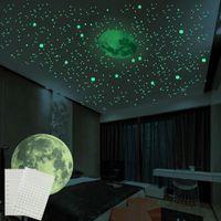 Наклейки на стену 414 шт. 3D светящиеся луна звезды набор набор света в темноте наклейки для DIY детская комната спальня гостиных украшения дома