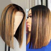 Ombre Dantel Ön Peruk Vurgulamak Renkli İnsan Saç Peruk Kısa Bob 13x4 Frontal Düz Remy 150 Diva1