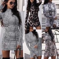 폭발 긴 소매 서 칼라 드레스 새로운 여성 뱀 표범 Bodycon 드레스 가을 패션 섹시한 파티 드레스를 인쇄