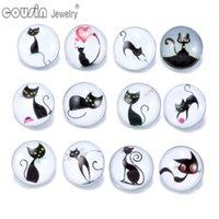 Charme pulseiras 12 pçs / lote cores misturadas adorável gato de arte 18mm botão de encaixe de jóias facetada pulseira kz0179