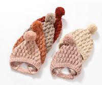 Chapéu de lã crianças pequenas bola crianças de malha boné bebê mão-tecido grande cabelo proteção proteção bebê chapéus crianças inverno orelha quente muff beanie beanie a5616