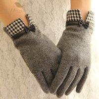 Cinq doigts Gants Sishion élégant rétro dames tactile écran tactile arc à carreaux chaudieux points de laine de laine de cachemire hiver femmes SP07001