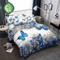 Helengili 3D Bettwäsche Set Blumen Schmetterlinge Drucken Duvet Cover Set Bettwäsche mit Kissenbezug Bett Home Textiles # XH-021
