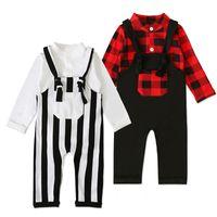New Baby Vestiti Di Natale manica lunga Bianco griglia rossa pagliaccetto bretella pantaloni Kid Imposta Ins Xmas autunno Clothe Per Boy Girl