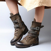 Fashion Green Women High Boots Lace Up Straps Botas Mujer Female Autumn Platform Rubber Flat Shoes Riding Boot