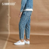 Simwood Bahar Yeni Ayak Bileği Uzunlukta Kot Erkekler Moda Hip Hop Geri Çizgili Moda Streetwear Denim Artı Boyutu Pantolon 190384 201111