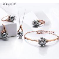 Рождественский подарок для мамы Большая распродажа мода ожерелье браслет серьги кольцо розовое золото серый жемчужный модный лист 4шт юмозный набор юмозов 20124