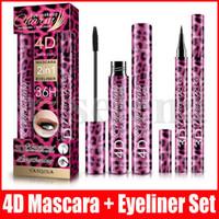 Maquillage des yeux Set 2 en 1 eye-liner Mascara 4D EPAISSE CURL 36H eye-liner liquide longue durée de type étanche Allongement Cruling cadeau de Noël
