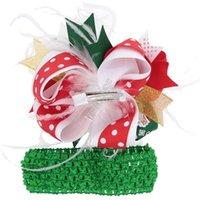 Noel Tüy Saç Yay Klip ve Kafa Seti Çocuklar Bebek Kız Noel Firkete Yaylar Elastik Saç Wrap Hairbands Barrettes Headdress D102802