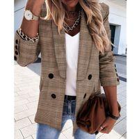 Vintage casual plaid blazer frauen mode doppelreiber büro damen jacke mantel gekerbt kragen langarm passt frau 201105