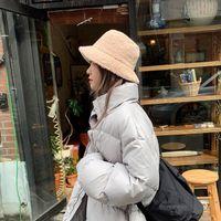 Invierno Fallo de piel chicas cálidas sombreros cubo sombrero cordero espesado peluche pescador sombrero panama cascas casuales niños regalo 8 colores DDA3029