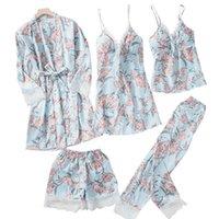 새로운 봄 여자 5PC 스트랩 탑 바지 정장 잠옷 잠옷 세트 가을 홈웨어 나이트웨어 키모노 로브 목욕 가운 M-XL1