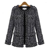 Fon ile marka sonbahar ve kış kısa gevşek ceket siyah beyaz kontrol suit-elbise kendi kendini yetiştirme küçük real1 olacak