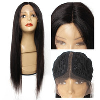 10- 26 inch T part lace front wig straight human hair wig 150...