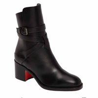 Magro Ladys Botas Preto bezerro Genuine couro vermelho botas de fundo para Mulheres Karistrap Estilo alta Bloco Heel Botas Com Correias Inverno