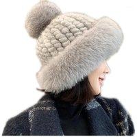 Beanie / Kafatası Kapaklar Şapka kadın Kış Gerçek Şapkalar Büyük Hakiki Kürk Pompom Kız Kasketleri 2021 Tasarım Sıcak Kalın Örme Bonnet H791