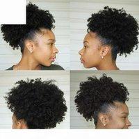 Evermagic Afro kinky Кудрявый хвост для женщин натуральный черный 120G Remy волосы цельный клип в 100% перуанских человеческих волос