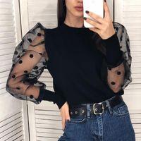 Black polka dot puff long sleeve blouse women elegant autumn winter knitted tops slim ladies white party club tops Blusas 2020