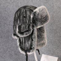Chapéus ao ar livre Winter Thermal Thermal Earkfs Knit Chapéu de Algodão Homens Mulheres Caminhadas Esqui de Pesca Ciclismo Quente Earflaps Lei Feng Bomber Cap1