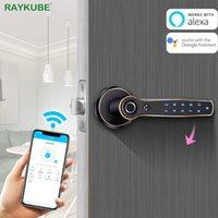 RAYKUBE porta eletrônico fechamento da impressão digital Bluetooth TT Bloqueio Wifi gateway Suporte AI voz Comando Alexa Google Smart Lock