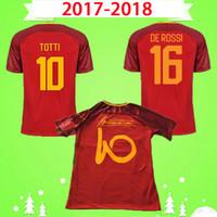 2017 2018 드 Rossi # 10 Totti 레트로 축구 유니폼 클래식 Camicia Roma 빈티지 Maglia Da Calcio 17 18 기념 축구 셔츠 홈 브라운