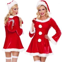 Costume a tema 3 Pz / 1 set Arrivo Costumi di Natale Donne Donne Sexy Abito rosso Santa Claus per adulti Uniforme1
