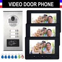 """2/3/4 Einheiten Apartment Sprechanlage Videoüberwachung Video-Türsprech Kit HD-Kamera 7"""" -Monitor mit RFID keyfobs für 3 Haushalt"""