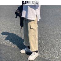 Kapments vintage homens corduroy bolso baggy cargo corredores mens japonês streetwear calças de perna larga calças coreanas masculinas 201218