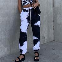 Tie Dye Fashion Imprimer Sarouel Femmes cordonnet taille haute Joggers Sweatpants Pantalons Casual Ladies
