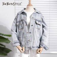 TWOTWINSTYLE Korean Style Jean Jacket Women Lapel Collar Long Sleeve Loose Autumn Female Coats Fashion Clothing New 201109