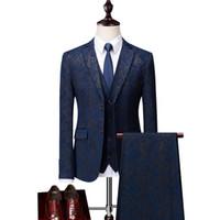 2021 Новый мужской Fiashoin Groom носить свадебные костюмы Новый мужской деловой досуг костюм три части костюм