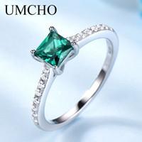 Umcho الأخضر الزمرد الأحجار الكريمة خواتم للنساء حقيقي 925 الفضة الاسترليني الأزياء قد جوهرة الدائري رومانسية هدية غرامة المجوهرات 201006
