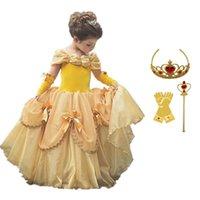 Cosplay Bebek Kız Giysileri Prenses Sarı Elbise Kız Cadılar Bayramı Kostüm Çocuklar Kızlar için Elbiseler Gizli Parti Fantasia Vestido 201130