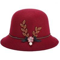 Kadınlar Yaz İlkbahar Sonbahar Kış Fedoras Çiçek Inci Dekore Keçe Cap Sıcak Kolay Zarif Monnler Hat1